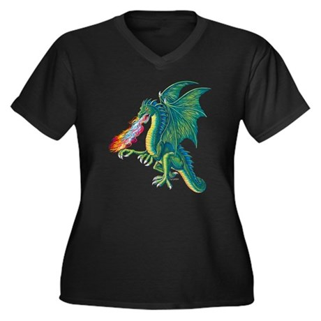Dragon's Lair Women's Plus Size V-Neck Dark T-Shir