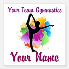 "Customizable Gymnastics Team Square Car Magnet 3"""