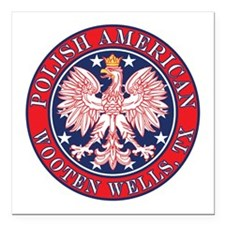 "Wooten Wells Texas Polish Square Car Magnet 3"" x 3"