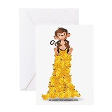 MGB - Monkey Sitting on Pile of Bana Greeting Card