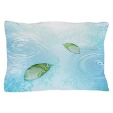Green leaves on the water Pillow Case