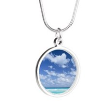 Blue sky and sea Silver Round Necklace