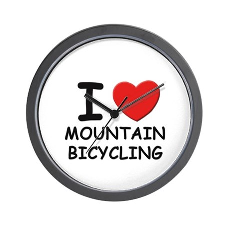 I love mountain bicycling Wall Clock