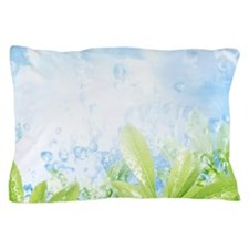 Water drops on green leaves Pillow Case