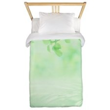 Green foliage and water drops Twin Duvet
