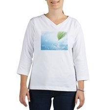 Green leaf and rippling water Women's Long Sleeve Shirt (3/4 Sleeve)