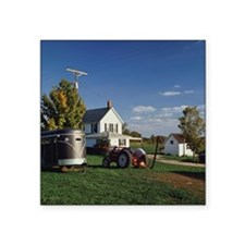 """Tractor and car for carryin Square Sticker 3"""" x 3"""""""