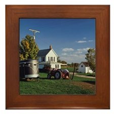 Tractor and car for carrying horse Framed Tile