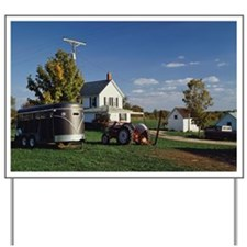 Tractor and car for carrying horse Yard Sign