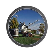 Tractor and car for carrying horse Wall Clock