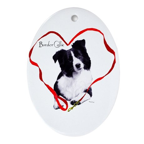 border collie Oval Ornament