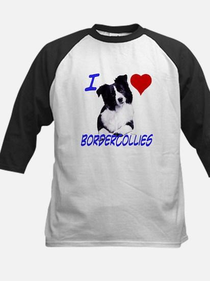 i love border collie Kids Baseball Jersey