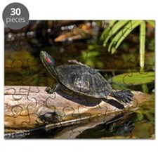 Red Eared Slider turtle sunning on log Puzzle