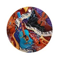 Jazz Music Guitar Piano Scene Round Ornament