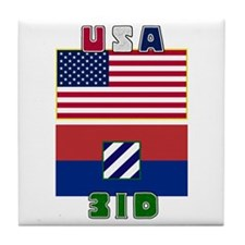 3ID and US Flags Tile Coaster