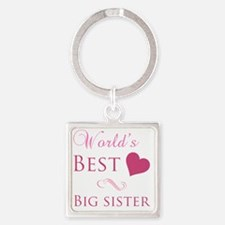 Worlds Best Big Sister Square Keychain