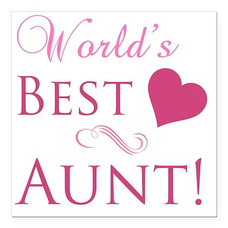 """Worlds Best Aunt Square Car Magnet 3"""" x 3"""""""