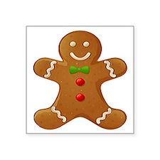 "Gingerbread Man Square Sticker 3"" x 3"""