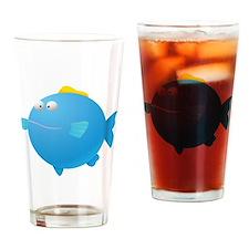 Blue Puffer Fish Kids Shirt Drinking Glass