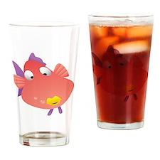 Pink Fish Kids Shirt Drinking Glass