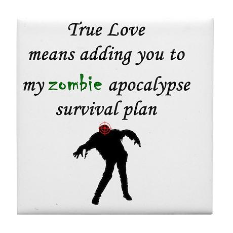 True Love Zombie Tile Coaster