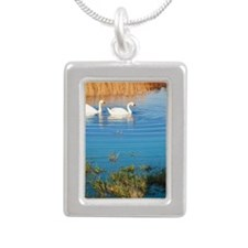 Swans on pond Silver Portrait Necklace