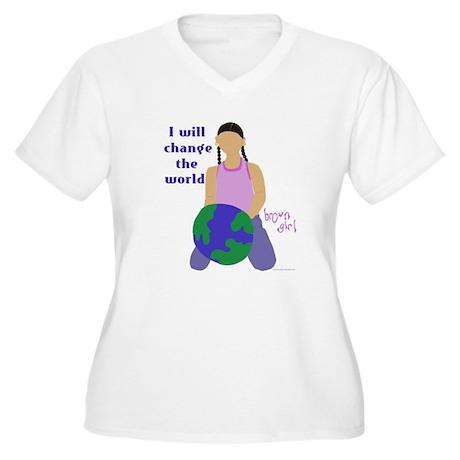 """Change the World"" Women's Plus Size V-Neck"