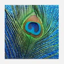glittery blue peacock feather curtain Tile Coaster