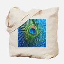 glittery blue peacock feather curtain Tote Bag