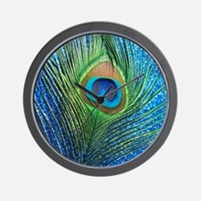 glittery blue peacock feather curtain Wall Clock