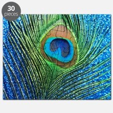 glittery blue peacock feather curtain Puzzle