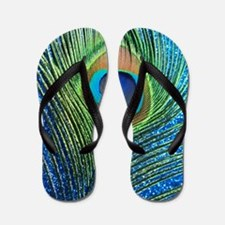 glittery blue peacock feather curtain Flip Flops