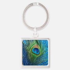glittery blue peacock feather curt Square Keychain