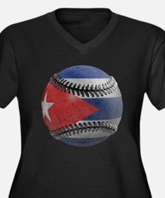 Cuban Baseball Women's Plus Size V-Neck Dark Tee