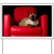 siamesse cat in red chair Yard Sign