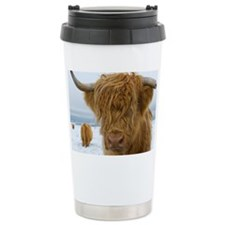Highland cattle in snow Travel Mug