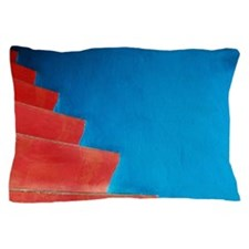 Red staircase and blue wall Pillow Case