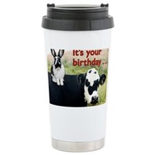 Bunny  Cow Birthday Car Travel Mug