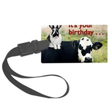 Bunny  Cow Birthday Card Luggage Tag