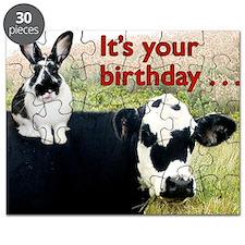 Bunny  Cow Birthday Card Puzzle