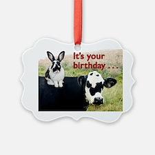 Bunny  Cow Birthday Card Ornament