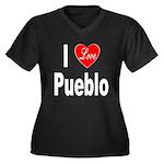 I Love Pueblo (Front) Women's Plus Size V-Neck Dar