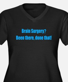 Funny Brain Women's Plus Size V-Neck Dark T-Shirt