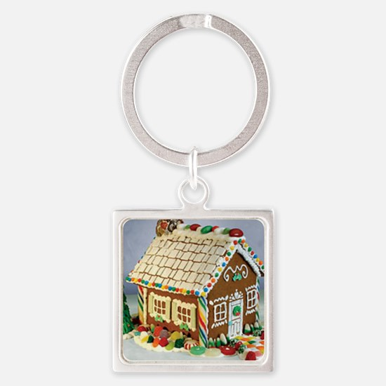 Gingerbread House Square Keychain