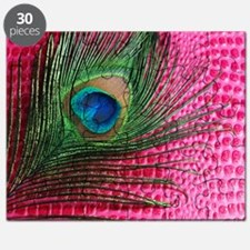 Hot Pink Peacock Feather Puzzle