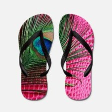 Hot Pink Peacock Feather Flip Flops