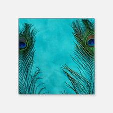 "Aqua Blue Peacock Feathers Square Sticker 3"" x 3"""