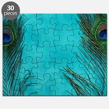 Aqua Blue Peacock Feathers Puzzle