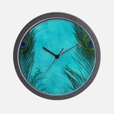 Aqua Blue Peacock Feathers Wall Clock
