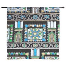 "an ornate mosaic of blue, yellow, whi 60"" Curtains"